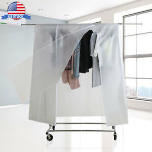 Rolling Adjustable Metal Garment Clothing Rack With Protective Dustproof Cover
