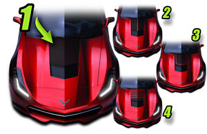 2014 And Up C7 Base Chevy Corvette Hood Stripe Decal Graphics Style1