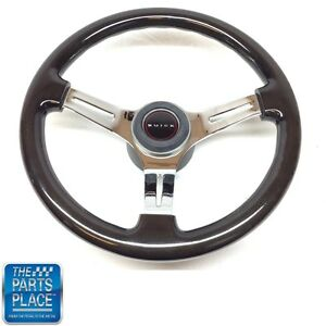 1969 72 Buick Dark Black Wood Chrome Steering Wheel buick Center Cap