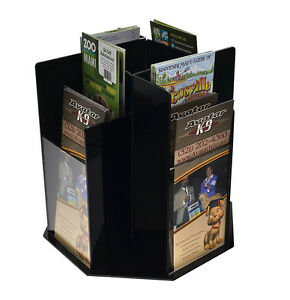 Counter top Literature Pamphlet Rack Spinning 8 Pockets Tiered Black Acrylic