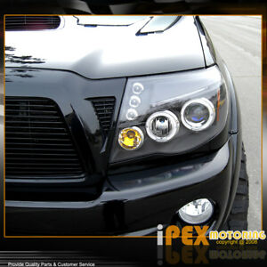 For All 2005 2011 Toyota Tacoma Halo Projector Led Black Headlights Headlamps