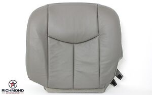 03 06 Chevy Suburban 2500 Quadrasteer Driver Side Bottom Leather Seat Cover Gray