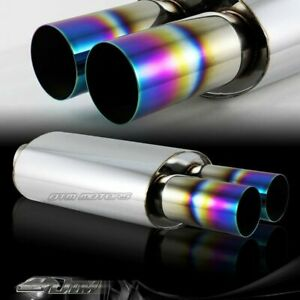 3 Dual Rainbow Burnt Tip T 304 Stainless 2 5 Inlet Muffler Exhaust Universal
