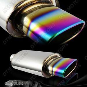 5 5 Wide Oval Rainbow Burnt Tip Stainless Muffler Exhaust 2 5 Inlet Universal