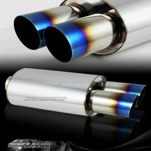 3 Dual Slant Blue Burnt Tip T304 Stainless 3 Inlet Muffler Exhaust Universal