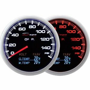 Depo 60mm Smoked Oil Pressure Volt Oil Temp water Temp Gauge Led 4 In 1 Psi F