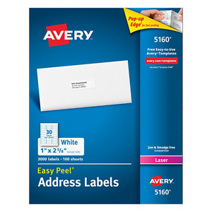 Avery 5160 Easy Peel Address Labels For Laser Printers 1 X 2 5 8 Box Of 3 000