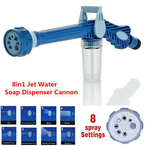 8in1 Jet Water Soap Dispenser Cannon Car Cleaning 8 Nozzle Hose Nozzle Spray Gun
