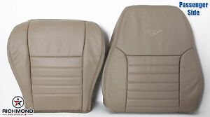 99 04 Ford Mustang Gt passenger Side Bottom Lean Back Leather Seat Covers Tan