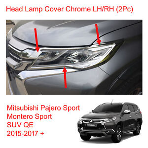 For Mitsubishi Pajero Montero Sport Head Lamp Light Cover Chrome 2015 2017