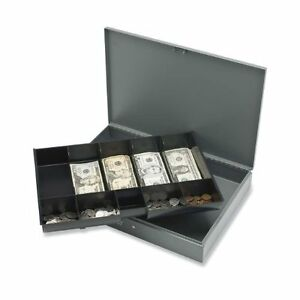 Sparco Cash Box With Tray 5 Bill 5 Coin Steel Gray 2 spr15500