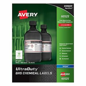 Avery Ghs Chemical Container Labels Permanent Adhesive 200 Label s 4