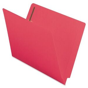 Smead 25740 Red End Tab Colored Fastener File Folders With Reinforced smd25740