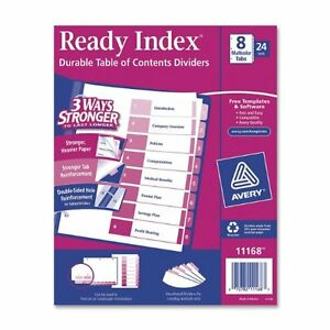 Avery Uncollated Index Divider Printed1 To 8 8 Tab s set 8 50 ave11168