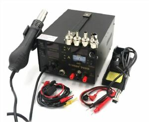 New 220v Saike 909d 3 In 1 Rework Station With Hot Air Gun Smd Soldering Tool Ct