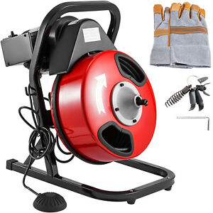 50ft X 1 2 Drain Cleaner 250 W Drain Cleaning Machine Sewer Clog W 5 Cutters