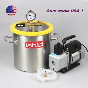 2 0 Gallon Vacuum Degassing Chamber And Two Stage 7cfm Vacuum Pump Kit