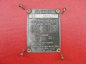 Massey Harris 50 Tractor Serial Number Tag Bronze Red Sgm523117