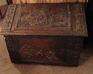 Antique French Wooden Cooper Inlayed Big Chest Box L Hiver Winter