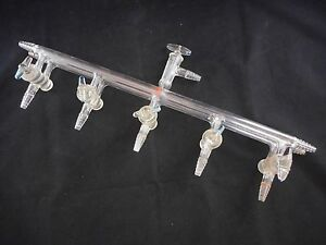 Aldrich Glass 5 port Dual Bank Manifold W Glass Stopcocks Vacuum gauge Port