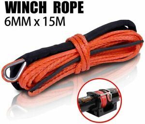 X Bull 1 4 X50 Synthetic Winch Rope Linerecovery Cable 4wd Orange 10000lbs