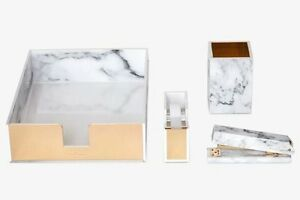 New Rachel George Acrylic White Marble Desk Set Gold Office Gift Boxed