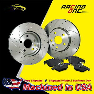 Um 2 Disc 4pads front Drilled Slotted Brake Rotor Ceramic Pads Fit Chevrolet