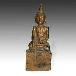 Antique Seated Niche Buddha Carved Wood Burma Southeast Asia Buddhism 19th C