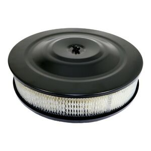 14 Round Black Air Cleaner Assembly 5 1 8 Neck Flat Base W 3 Paper Filter