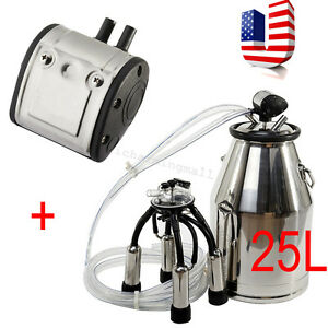 Portable Dairy Cow Milker Machine Stainless Steel Bucket Tank Barrel Warranty