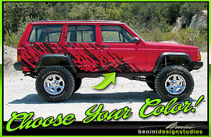 1984 2001 Jeep Cherokee Sport Country Wagoneer Mud Splash Graphics Decals