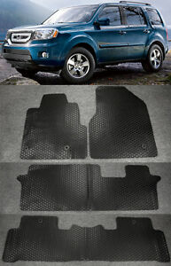 4 Pieces All Weather Front Rear Heavy Rubber Floor Mat Set For 09 15 Honda Pilot