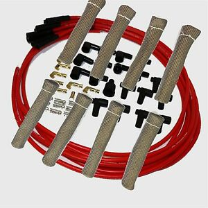 8 5 Mm Red Spark Plug Wires Hi temp Suppression Str Ends Hei W Gray Protectors