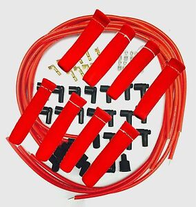 8 5 Mm Red Spark Plug Wires Hi temp Suppression 90 Ends Hei W Red Protectors