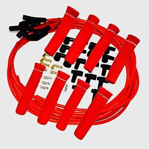 8 5 Mm Red Spark Plug Wires Hi temp Suppression 135 Ends Hei W Red Protectors