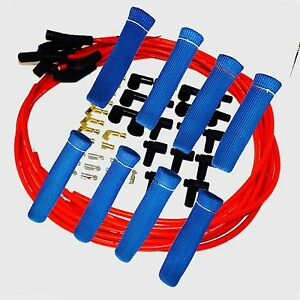 8 5 Mm Red Spark Plug Wires Hi temp Suppression 135 Ends Hei W Blue Protectors