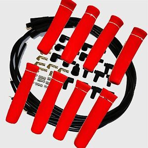 8 5 Mm Blk Spark Plug Wires Hi temp Suppression Str Ends Hei W Red Protectors