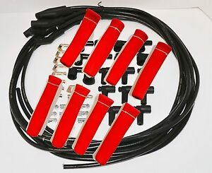 8 5 Mm Blk Spark Plug Wires Hi temp Suppression 135 Ends Hei W Red Protectors