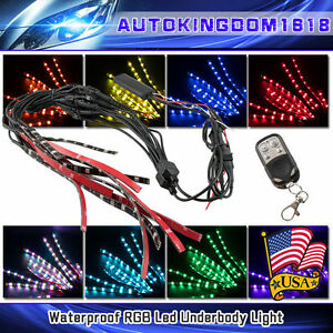 4 8 12 Car Led Neon Underbody Under Glow Lights Strip Kit W Remote Control