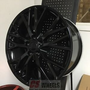18 19 Z06 Zo6 Style Gloss Black Wheels Rims Fits 14 C7 Corvette Stingray Base