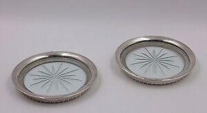 Antique Sterling Silver Rimmed 3 7 8 Starburst Cut Glass Coasters Gadroon Base