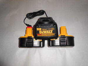 2 New Dewalt 18v Dc9096 Nicd Batteries And Dw9116 Battery Charger