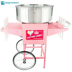New Commercial Cotton Candy Machine Maker Stainless Steel Bowl Cart Portable