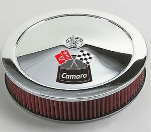 Chrome Air Cleaner Red Washable 14x3 Chevrolet Chevy Fits 4bbl New Camaro White