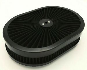 Air Cleaner Washable Oval 12 Black Washable Filter 5 1 8 Neck 4bbl Carbs
