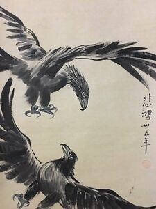 Chinese Ink Painting Two Eagles Hand Painting Attributed To Xu Beihong