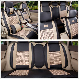 5 Seats Cooling Mesh Pu Leather Blk Bge Car Seat Covers Front Rear With Pillows