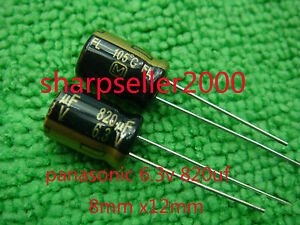 500pc 6 3v 820uf Panasonic Radial Electrolytic Capacitors 8x12mm fj b95