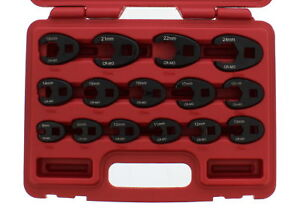 Abn Jumbo Crowfoot Flare Nut Wrench Metric Set 3 8 1 2 Drive Ratchet 15 Piece