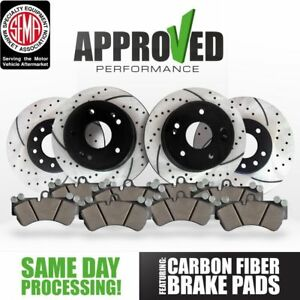 Front And Rear Kit Performance Drilled Slotted Brake Rotors Ceramic Pads